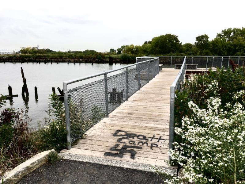 """Death Camp"" Graffiti at the Washington Ave Pier"
