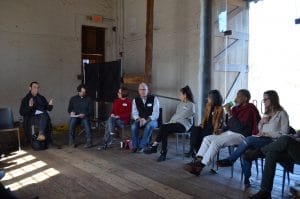 (L to R) Ernesto Pujol, David Brick, Jude Robison, Harry Philbrick, Eiko Otake, Maiko Matsushima, Ishmael Houston Jones, Ellen Chenoweth