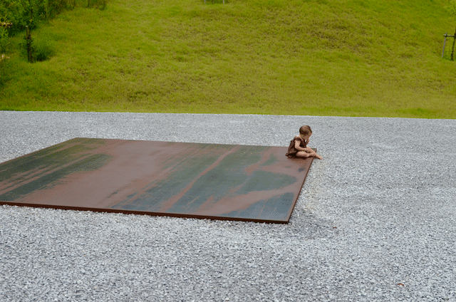 Lee Ufan installation at Lee Ufan Museum in Naoshima, with Saffie.